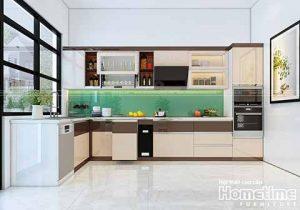 Thiết kế tủ bếp chữ I hiện đại nhà chú Khái, Văn Cao, Hải Phòng