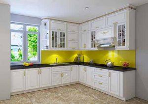 Tủ bếp nhựa phong cách tân cổ điển nhà chị Nga - Hải Phòng