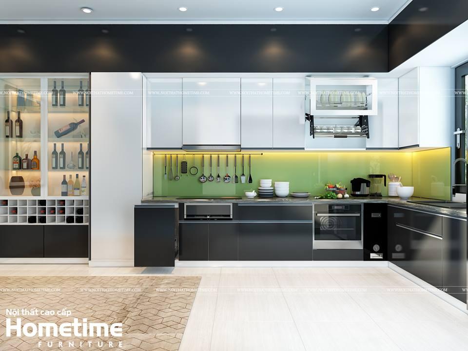 tủ bếp acrylic bóng tráng giương