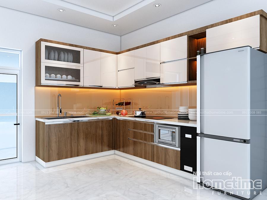 Tủ bếp hiện đại phủ acylic bóng tráng giương kết hợp phủ laminate vân gỗ