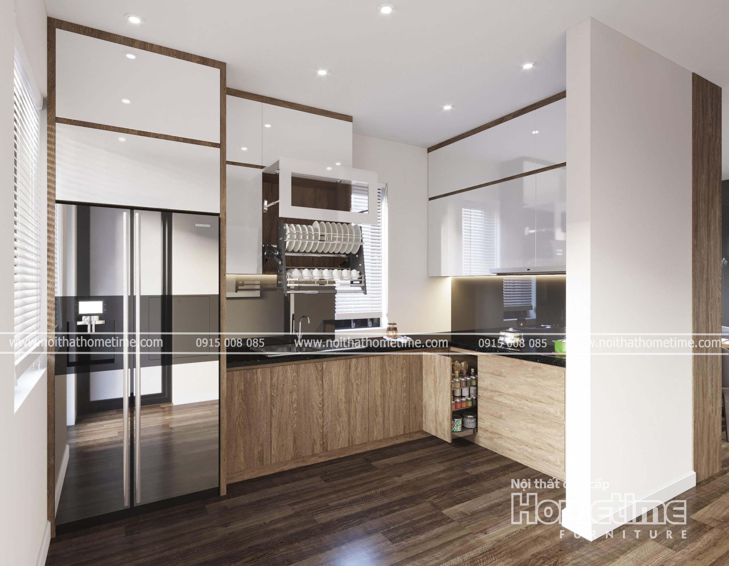 Tủ bếp nhựa nhỏ xinh cho căn hộ chung cư Hải Phòng