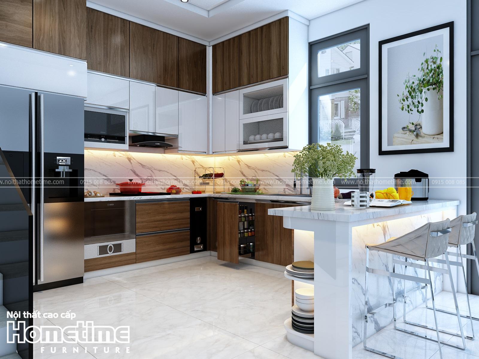 Tủ bếp nhựa kết hợp phủ laminate và phủ acrylic