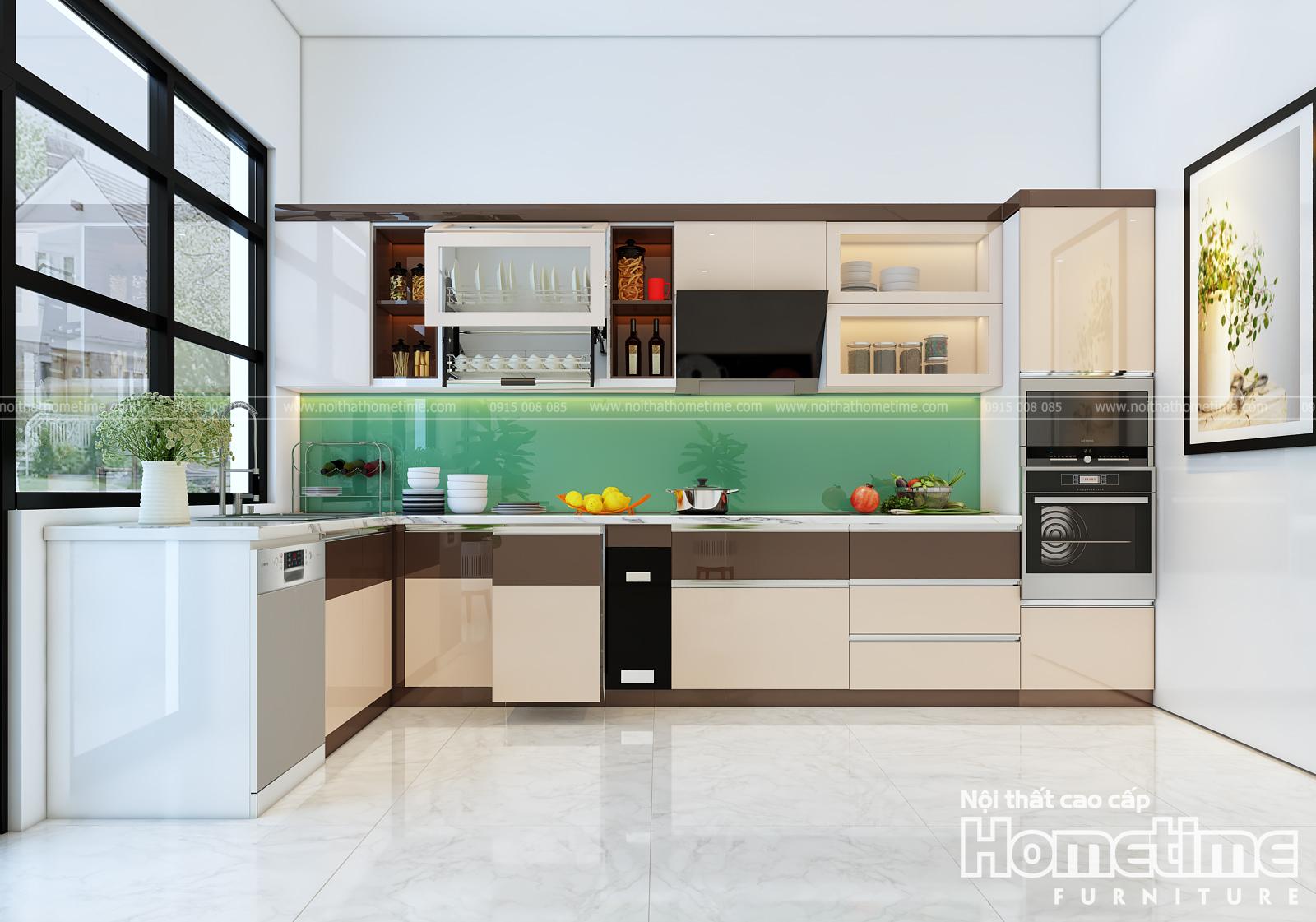 Tủ bếp nhựa chữ i hiện đại sơn men cao cấp